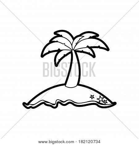 black thick contour of island with palm tree vector illustration