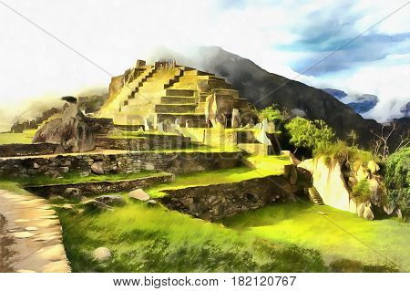 Colorful painting of Machu Picchu archaeological site, Cuzco, Peru