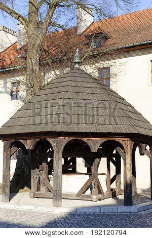 Benedictine abbey in Tyniec near Krakow well in the courtyard Poland