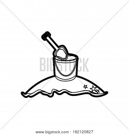 black thick contour of beach with bucket sand and shovel vector illustration