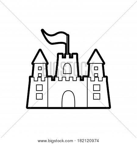 black thick contour of sandcastle with flag vector illustration