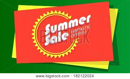 Summer sale, fantastic offer poster. Hot, bright selling banner with graphic symbol of sun. Template, mock-up for online shopping, advertising, sale action and other design.
