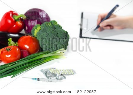 Healthy Organic Food Or Medicaments Concept