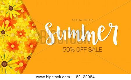 Summer sale, selling banner. hot orange backdrop and field of daisies, yellow flower. Template, mock-up online shopping, advertising, magazines.