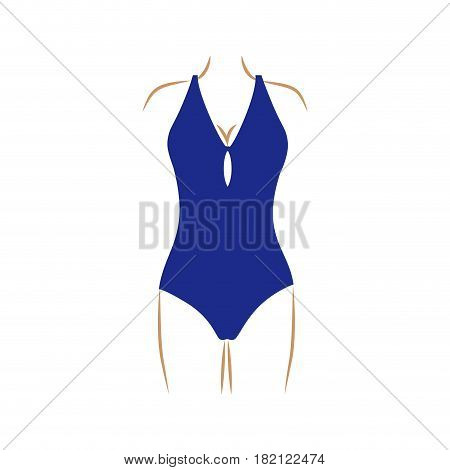 thin contour of woman in one piece swimsuit dark blue vector illustration