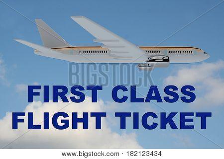 First Class Flight Ticket Concept