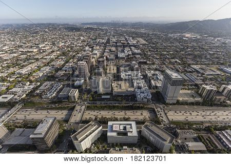 Aerial view of downtown Glendale with Los Angeles California in background.