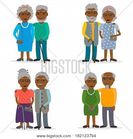 Set of black old couples of retirees. Grandfather and grandmother. Retired people with glasses and walking stick. Elderly persons collections. EPS10 vector illustration in flat style.