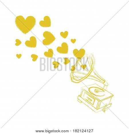 blurred silhouette gramophone sound reproduction system with hearts notes vector illustration