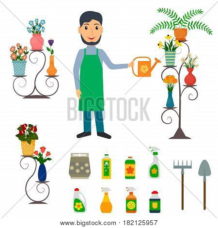 Flower shop florist or male salesperson with houseplants potted flowers on stands fertilizers spade and rake. EPS10 vector illustration in flat style.