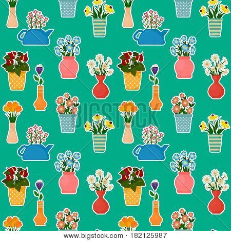 Houseplants in flowerpots seamless pattern. Flowers in pots and vases background. EPS10 vector illustration in flat style.