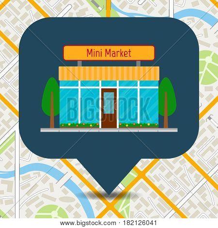 Mini market icon on city map. EPS10 vector illustration in flat style.