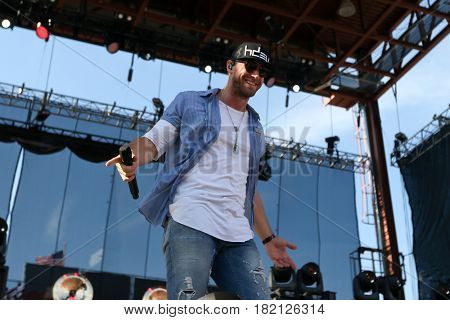FRISCO, TX-APR 24: Singer Chase Rice performs onstage during the 2016 Off The Rails Music Festival - Day 2 on April 24, 2016 at Toyota Stadium in Frisco, Texas.