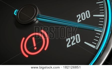 Brake System Warning Light In Car Dashboard. 3D Rendered Illustr