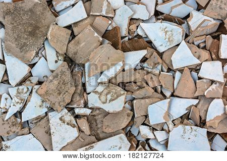 Close up obsolete crashed tile abstract background