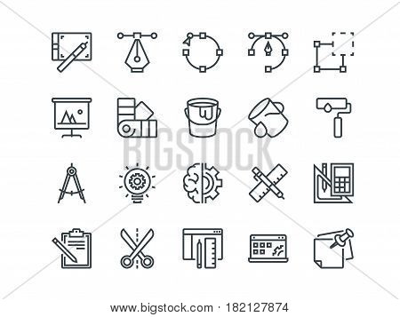 Design and Development. Set of outline vector icons. Includes such as Brainstorming, Retouching, Programming and other. Editable Stroke. 48x48 Pixel Perfect