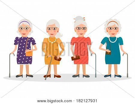 Set of old women wearing glasses and with canes in flat style. EPS10 vector collection of elderly women characters with walking sticks.