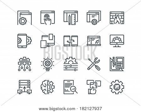 Web Development. Set of outline vector icons. Includes such as UX, Coding, Interface and other. Editable Stroke. 48x48 Pixel Perfect
