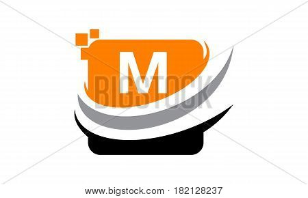 This vector describe about Logo Technology Motion Synergy Initial M