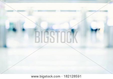 Blurred Background, People In Hallway Business Building
