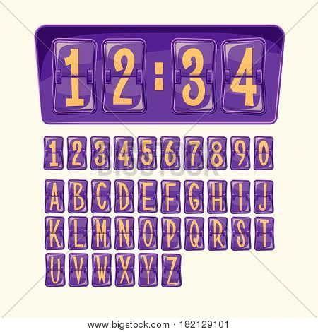 Vector illustration of a countdown timer, a mechanical scoreboard blank and various numerals and letters in cartoon style. Set of numbers and letters alphabet