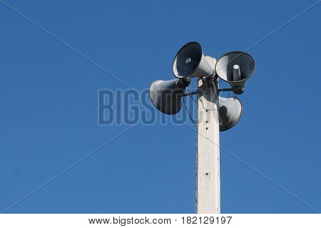 Loud speakers broadcast for distributed the message in the village