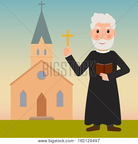 Pastor priest or evangelist with cross and bible near the church. EPS10 vector illustration in flat style.