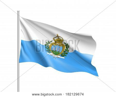 San Marino national flag. Patriotic symbol in official republic colors. Illustration of Sounhern European country flag. Vector icon