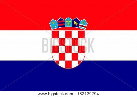 National flag of Croatia republic. Patriotic croatian sign in official country colors: blue, white and red. Symbol of Sounhern European state. Vector icon illustration