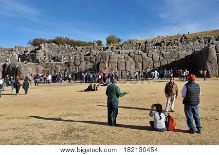 CUSCO PERU - SEPTEMBER 05 2016: Inca wall in the village Saksaywaman on September 05 2016 In Cusco Peru. Saksaywaman is a citadel on the northern outskirts of the city of Cusco.