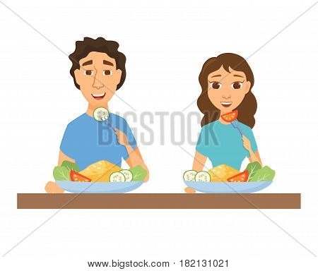 Couple eating healthy food. Man and woman having lunch, dinner or breakfast. Nutrition and diet. Slim people in home or restaurant