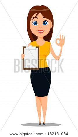 Business woman cartoon character. Young attractive businesswoman in smart casual clothes standing with clipboard and showing OK gesture - stock vector