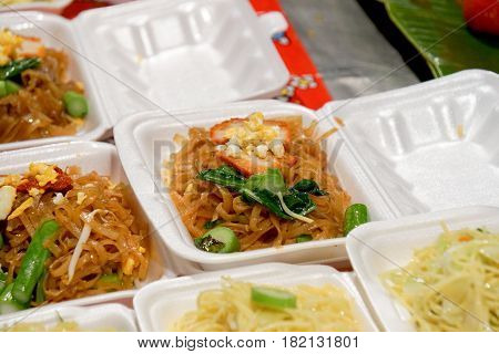 Pad Thai noodles Thai food served in Styrofoam of food container