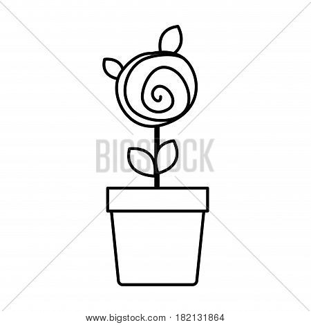 silhouette drawing small rose with leaves and stem in flowerpot vector illustration