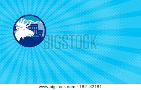 Business card showing Illustration of a moose head viewed from the side set inside circle with school bus and mountains alps in the background done in retro style.