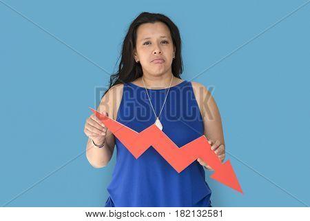 Chubby Woman Decrease Symbol Concept