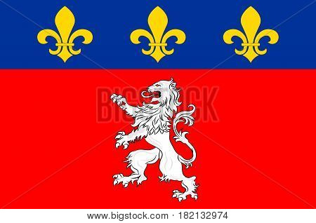 Flag of Lyon or Lyons is a city in east-central France in the Auvergne-Rhone-Alpes region. Vector illustration
