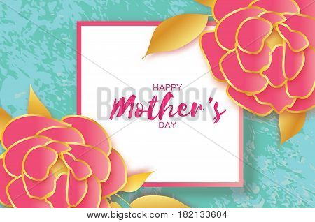 Happy Mothers Day. Gold Pink Floral Greeting card. Women's Day. Paper cut Peony flower. Floral holiday. Origami Beautiful bouquet. Square frame. Space for text. Blue Vector illustration.