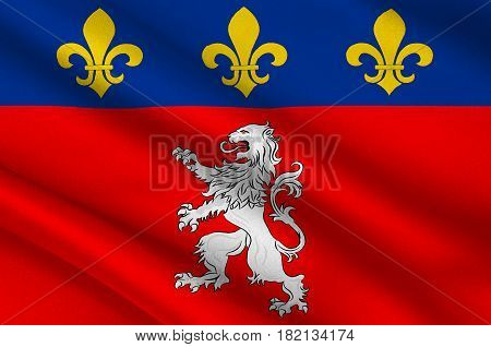 Flag of Lyon or Lyons is a city in east-central France in the Auvergne-Rhone-Alpes region. 3d illustration