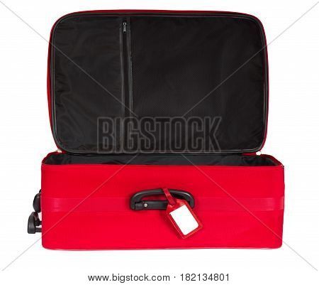 Suitcase Open Empty Luggage Red Travel Baggage Bag with Tag Isolated over White Background
