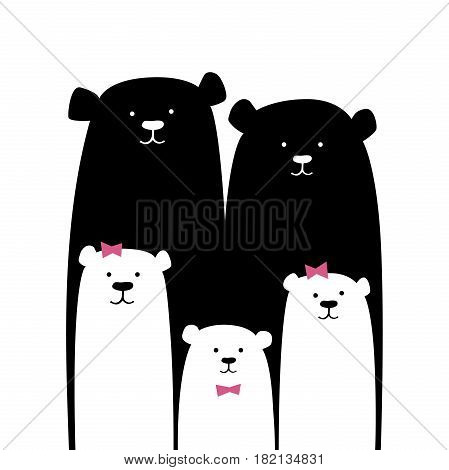 Bear family. Vector cartoon illustration isolated on white. Cute Mom, Dad, Son, Daughter, Baby. Hand drawn graphic design for interior children room, print, postcard