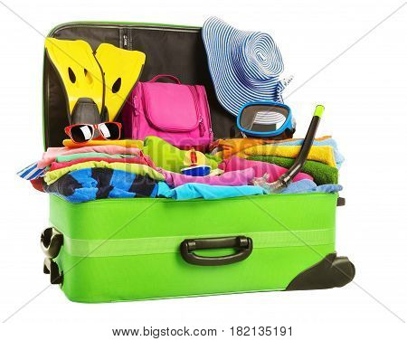 Suitcase Open Packed Travel Luggage Vacation Bag Full of Clothes Baggage Isolated over White Background