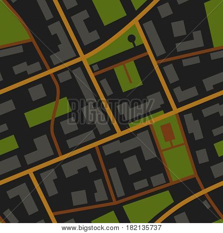 City Map night view seamless pattern. Simple flat illustration of repeatable city plan with streets.