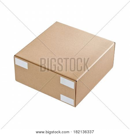 Brown Kraft Paper Box Isolated On White Background. Box Package Mock-up. Mockup Packaging Template