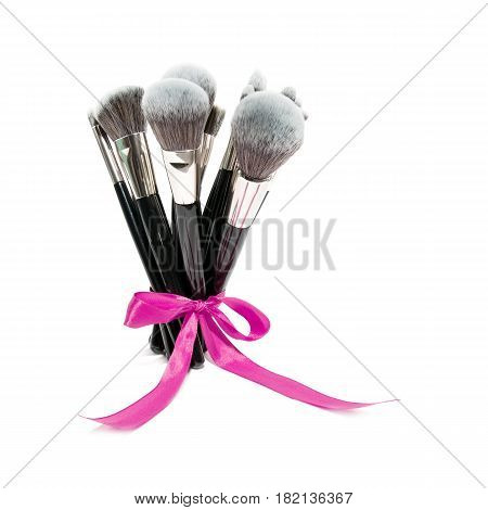 Bunch Of Makeup Brush Isolated On White Background. Eyeshadow Brush. Studio Retractable Brush. Found