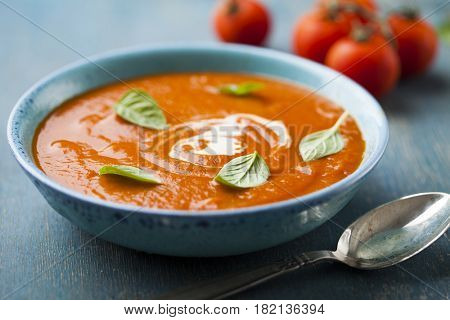 Tomato soup with fresh basil