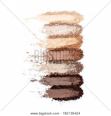 Collection Of Makeup Blush Powder Isolated On White Background. Foundation Powder. Eyeshadow Powder