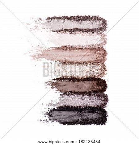 Collection Of Makeup Blush Powder Isolated On White Background. Foundation Powder. Eyeshadow Powder.