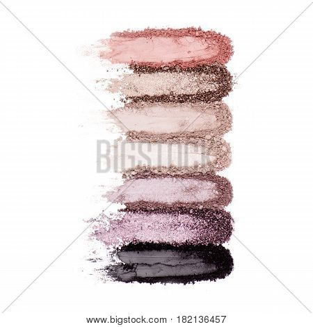 Collection Of Makeup Blush Powder Smear Isolated On White Background. Foundation Powder. Eyeshadow P