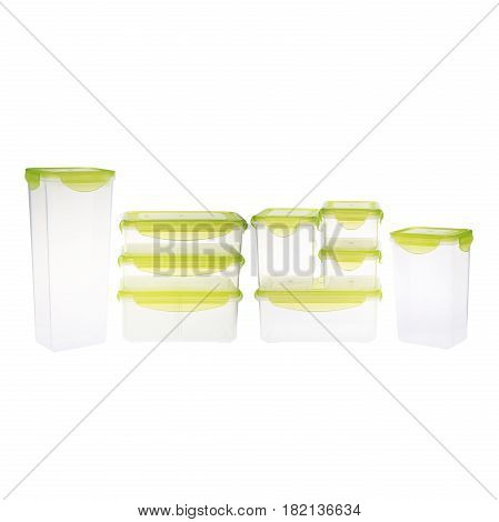 Set Of Empty Plastic Food Container With Vacuum Seal Lid Isolated On White Background